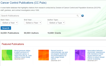 Sceenshot of the Cancer Control Publications (CC Pubs) website homepage