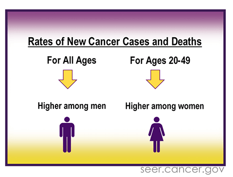 Rates of new cancer cases and deaths. For all ages, it is higher among men. For ages 20 to 49, it is higher among women.