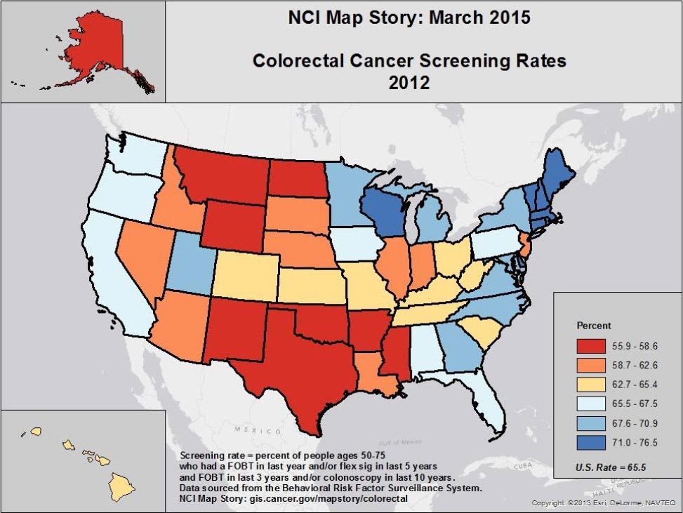 NCI Map Story: March 2015. Colorectal Cancer Screening Rates 2012