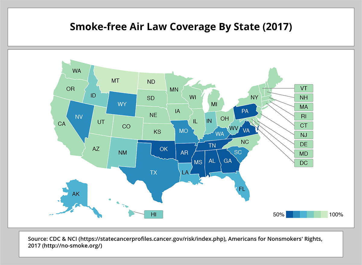 Smoke-free Air Law Coverage By State (2017). Source: CDC & NCI (https://statecancerprofiles.cancer.gov/risk/index.php), Americans for Nonsmokers' Rights, 2017 (https://no-smoke.org/)
