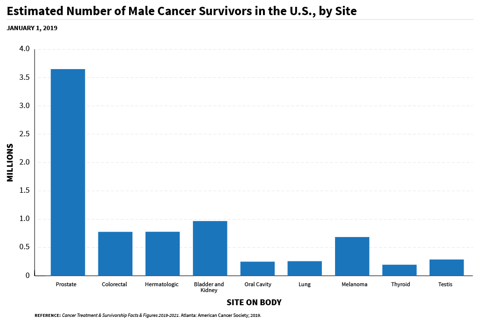 A bar chart of an estimated number of male cancer survivors in the US, by site on body.