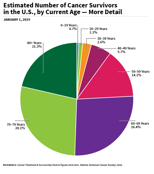 A pie chart of estimated Number of cancer survivors in the US, by current age in detail