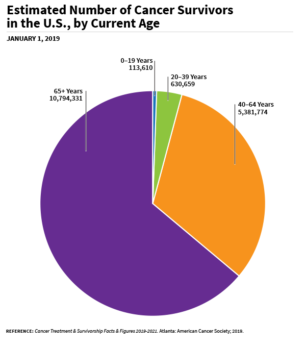 A pie chart of estimated number of cancer survivors in the US, by Current Age where the majority are 65+