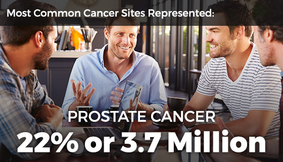 Most common cancer sites represented include prostate (21%, 3.3 million)